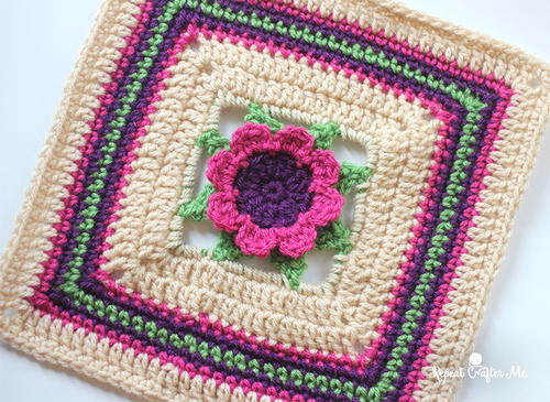 3D Crochet Flower Granny Square