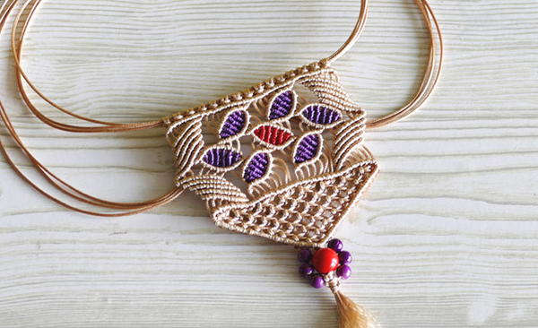 Flower Petal Macrame Necklace