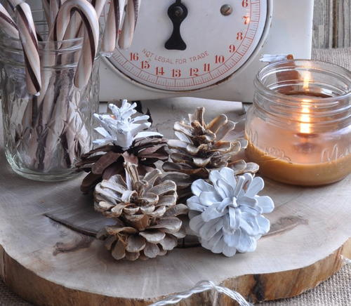 Bleached and Scented Pine Cone Crafts