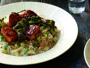 BBQ Broccoli and Chicken over Three-Onion Rice
