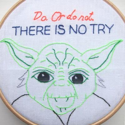 Simple Yoda Embroidery Pattern