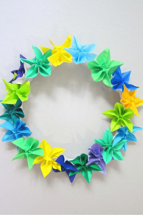 Origami Spring Wreath Idea