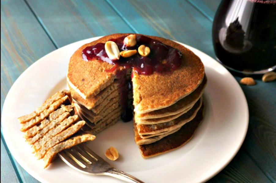 Peanut Butter and Jelly Pancakes | FaveHealthyRecipes.com