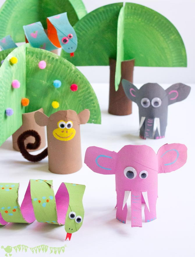 Jungle book paper tube craft for Where to buy cardboard tubes for craft