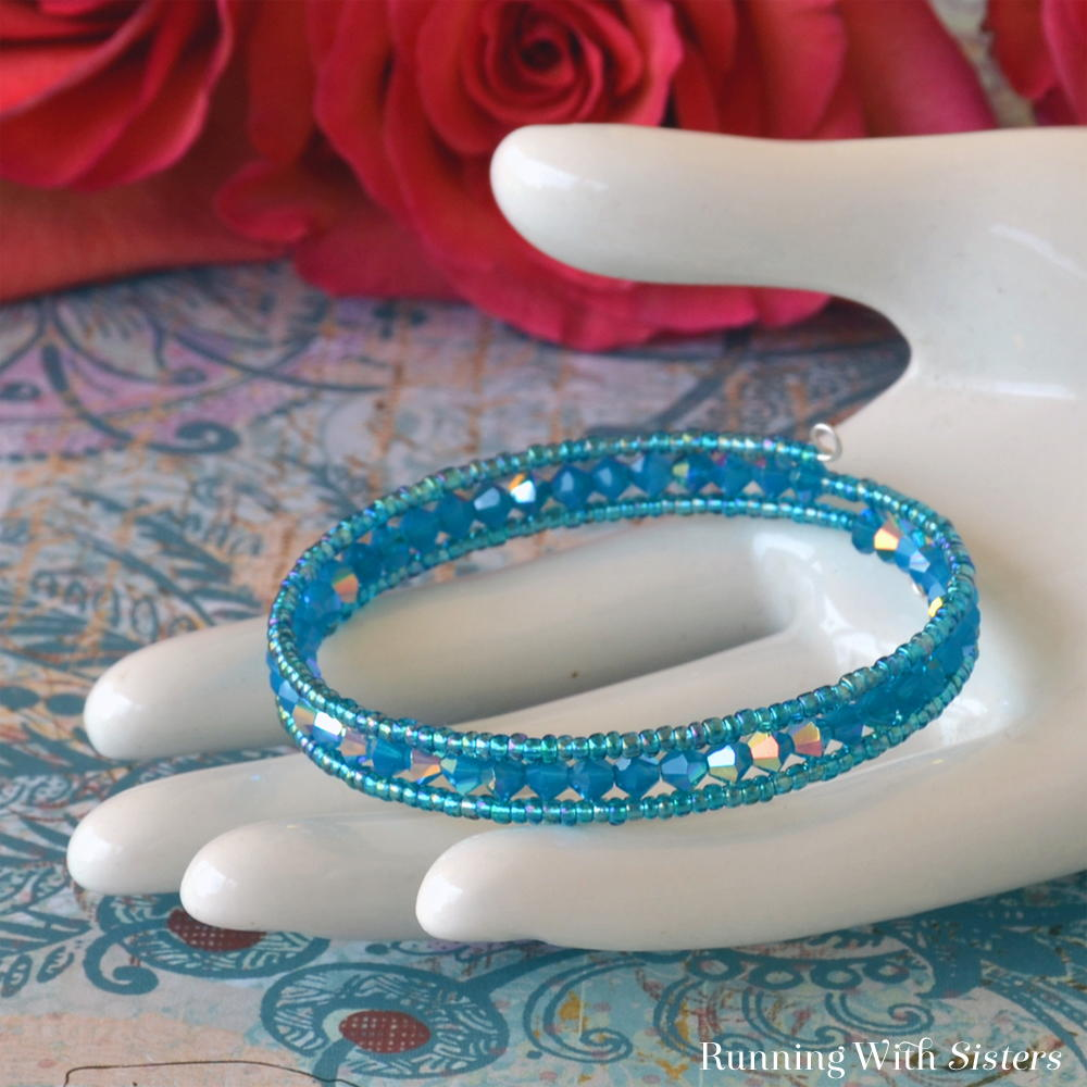 Caribbean Blue Memory Wire Bracelet Allfreejewelrymaking Com