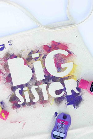 Big Sister or Big Brother Stenciled Helper Apron