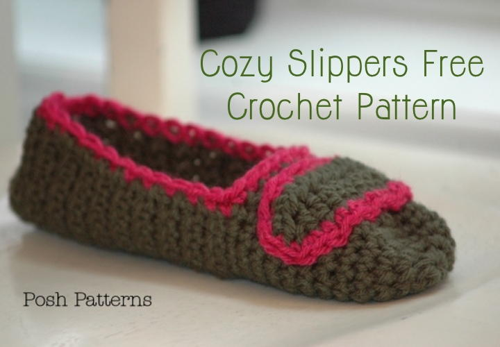 Crochet Patterns With Super Fine Yarn : Cozy Crochet Slippers AllFreeCrochet.com