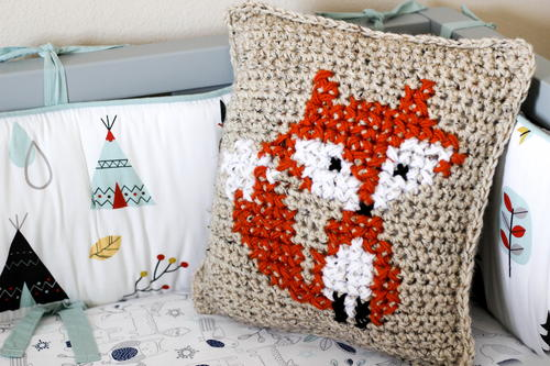 Basic Fox Cross Stitch Pillow