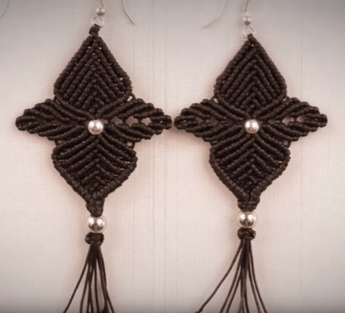 Black Orchid Macrame Earrings