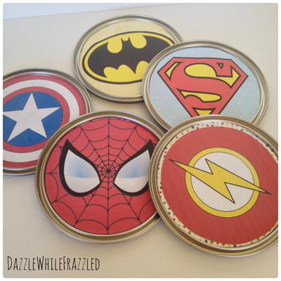 Superhero Wall Art With Paint Can Lids