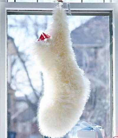 Fuzzy Polar Bear Knit Stocking