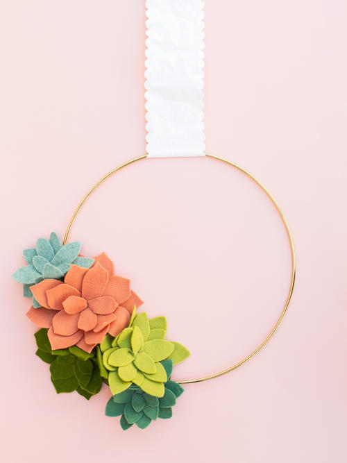 Felt Succulent Summer Wreath