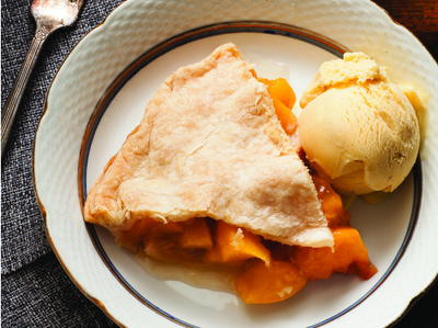 Bourbon Peach Pie with Vanilla Bean Gelato