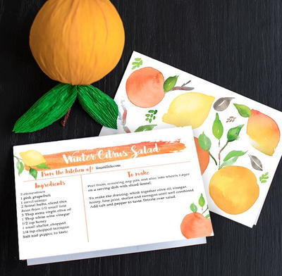 Citrus Season Printable Recipe Cards