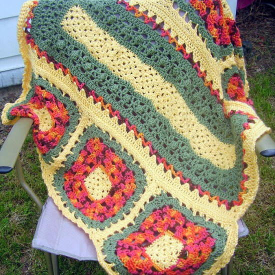 Wildflower Crochet Granny Square Blanket ...