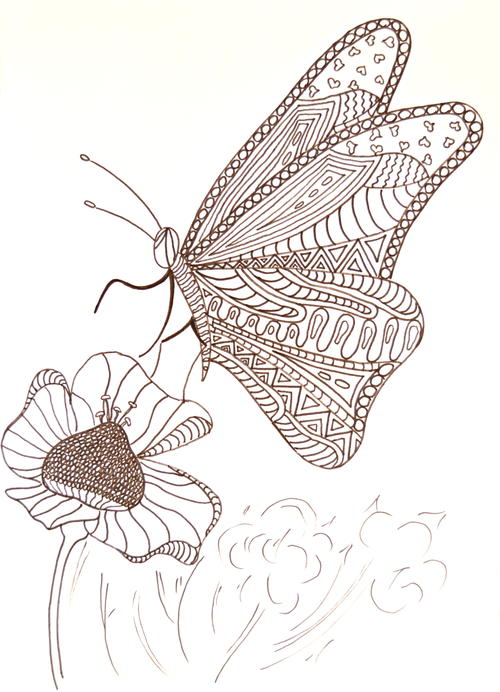 Hungry Butterfly Adult Coloring Page