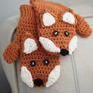 Little Fox Crochet Mittens
