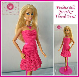 Fashion Doll Strapless Flared Dress