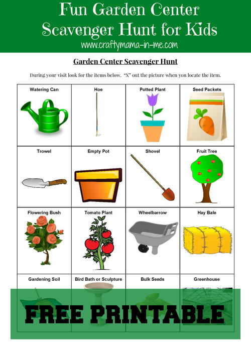 Garden Center Scavenger Hunt