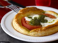 Buffalo Mozzarella Tomato And Pesto Tarts Cookstr Com