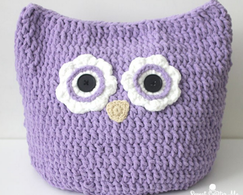 Oversized Crochet Owl Pillow