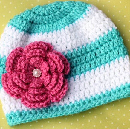 Crochet Beanie Pattern With Flower : Stripes and Flower Crochet Beanie Pattern AllFreeCrochet.com