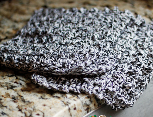 Grayscale Beginner Crochet Dishcloth