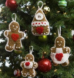 Crochet Christmas Ornaments Pattern.Gingerbread Family Crochet Christmas Ornaments