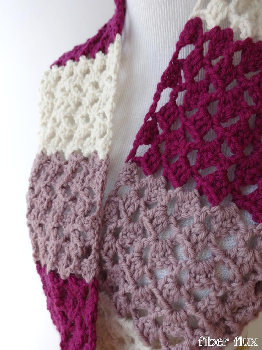Striped Raspberry Crochet Infinity Scarf Allfreecrochet Com