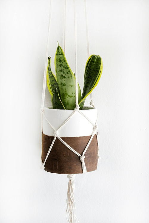 Clay and Leather Hanging Planter