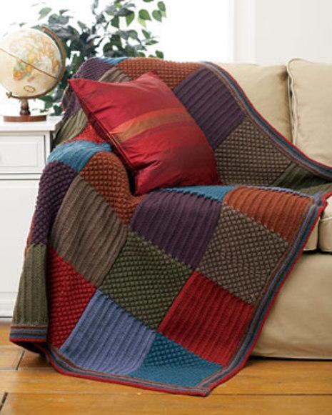 Checkered Knit Blanket | FaveCrafts.com : patchwork quilt knitting pattern - Adamdwight.com