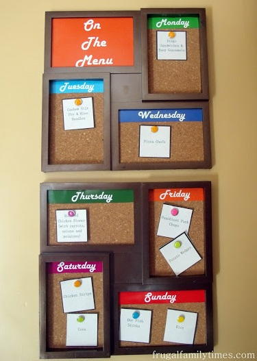 Simple Menu Planning Board