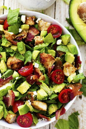 Avocado, Chicken, and Bacon Chopped Salad with a Creamy Basil Dressing