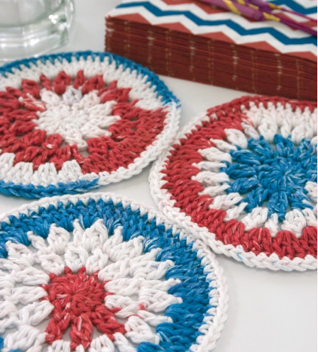 Fourth of July Crochet Coasters