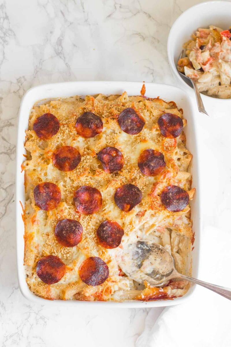 Pepperoni Pizza Mac and Cheese | AllFreeCasseroleRecipes.com