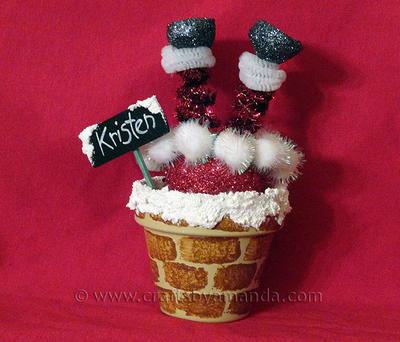 Santa in Chimney Clay Pot Place Setting