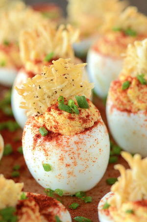 Deviled Eggs with a Parmesan Crisp