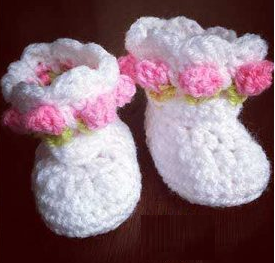 Little Miss Flower Crochet Baby Booties