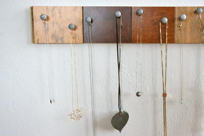Wooden Necklace Organizer
