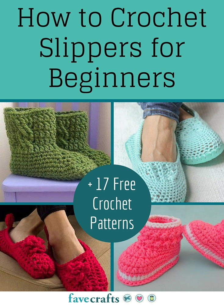 How To Crochet For Beginners : How to crochet slippers for beginners 17 free crochet patterns