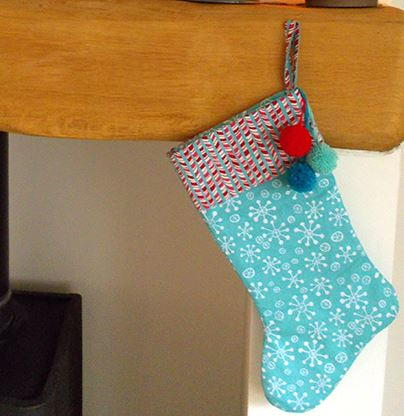 Snowflake and Pom Pom Christmas Stocking