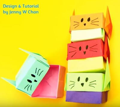 Origami Cat Stacking Paper Boxes
