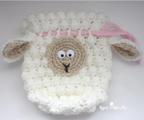 Fluffy Sheep Drawstring Crochet Bag Pattern
