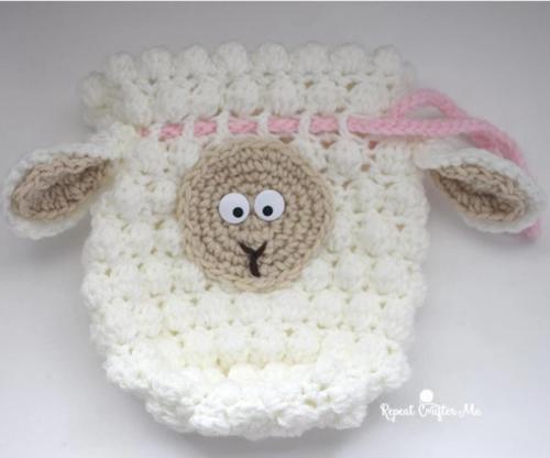 Fluffy Sheep Drawstring Crochet Bag Pattern Allfreecrochetcom