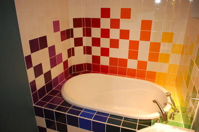 Painted Tile Bathroom Project