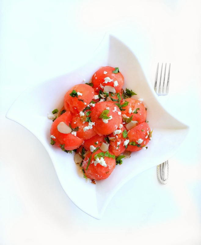 Quick Watermelon Salad with Feta Mint and Basil | RecipeLion.com