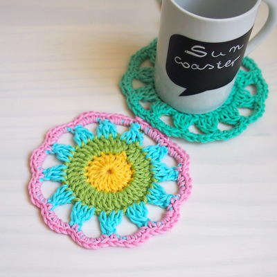 كروشية تركي 2017 مفارش تركيه بالكروشيه جديدة 2018 Sun-Crochet-Coaster-