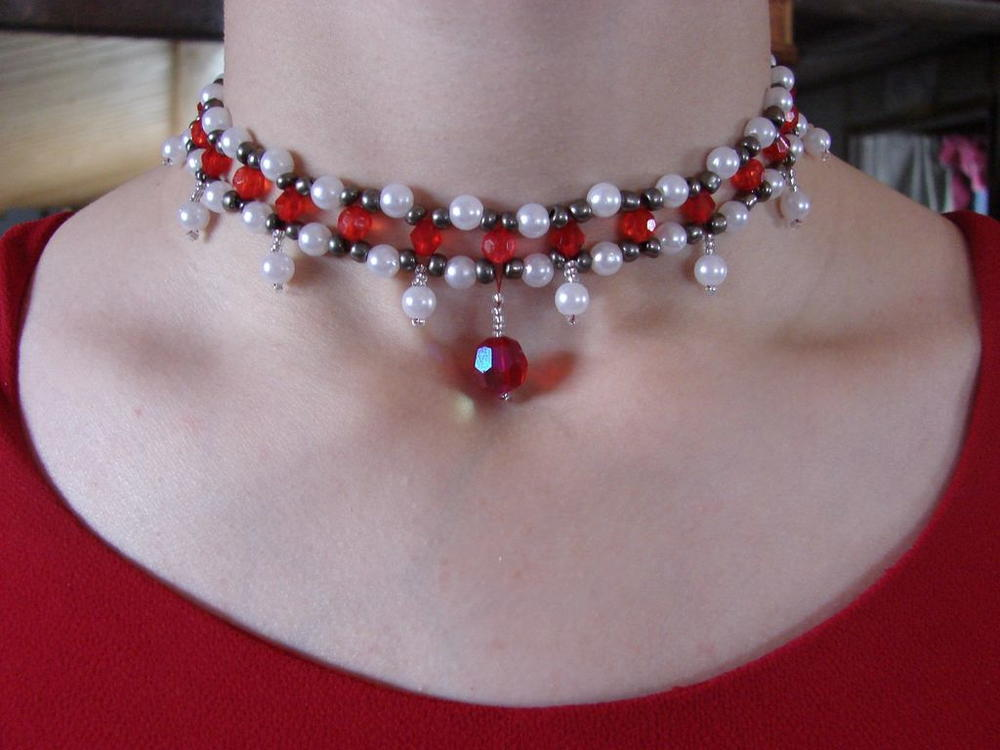 ruby beaded diy choker allfreejewelrymaking