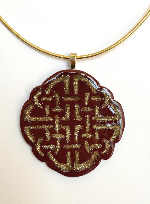 Gold Inlay Polymer Clay Pendant