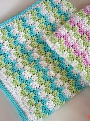Leaping Striped Blocks Crochet Afghan